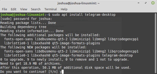 install telegram with apt on linux mint 20