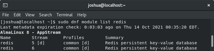 list streams available for redis on almalinux 8